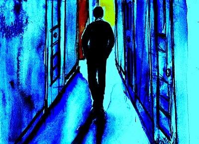 """""""La calma artificiale"""".    L'uomo camminava per strada insieme a tutti i pensieri che gli giravano nella testa, ed i suoi passi cercavano di scansare i piccoli accumuli d'acqua che si erano formati sui marciapiedi, dopo la pioggia insistente di quel pomeriggio. In giro si vedevano poche persone, la maggior parte dei negozi aveva già chiuso, le strade lucide portavano via le ultime auto.... (di Bruno Magnolfi - illustrazione di Giulia Tesoro)."""