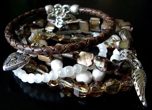 Italian Kiss - #brown #luxery #leather #pearl #shell #swarovski