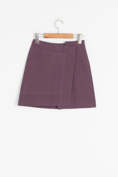 Unbalance Slim Fit Skirt, Wine, 100% Cotton