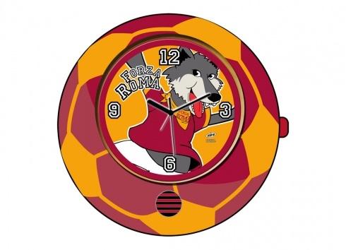 TIF8 OROLOGIO PALLA GIALLO/ROSSO. Orologio TIF8 da tavolo a forma di palla nei colori giallo/rosso con all'interno del quadrante disegno del lupotto.