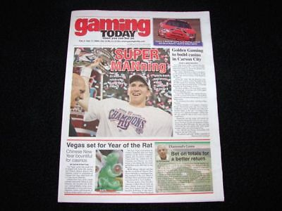 Gaming Today Eli Manning New York Giants Super Bowl Special Issue NEW