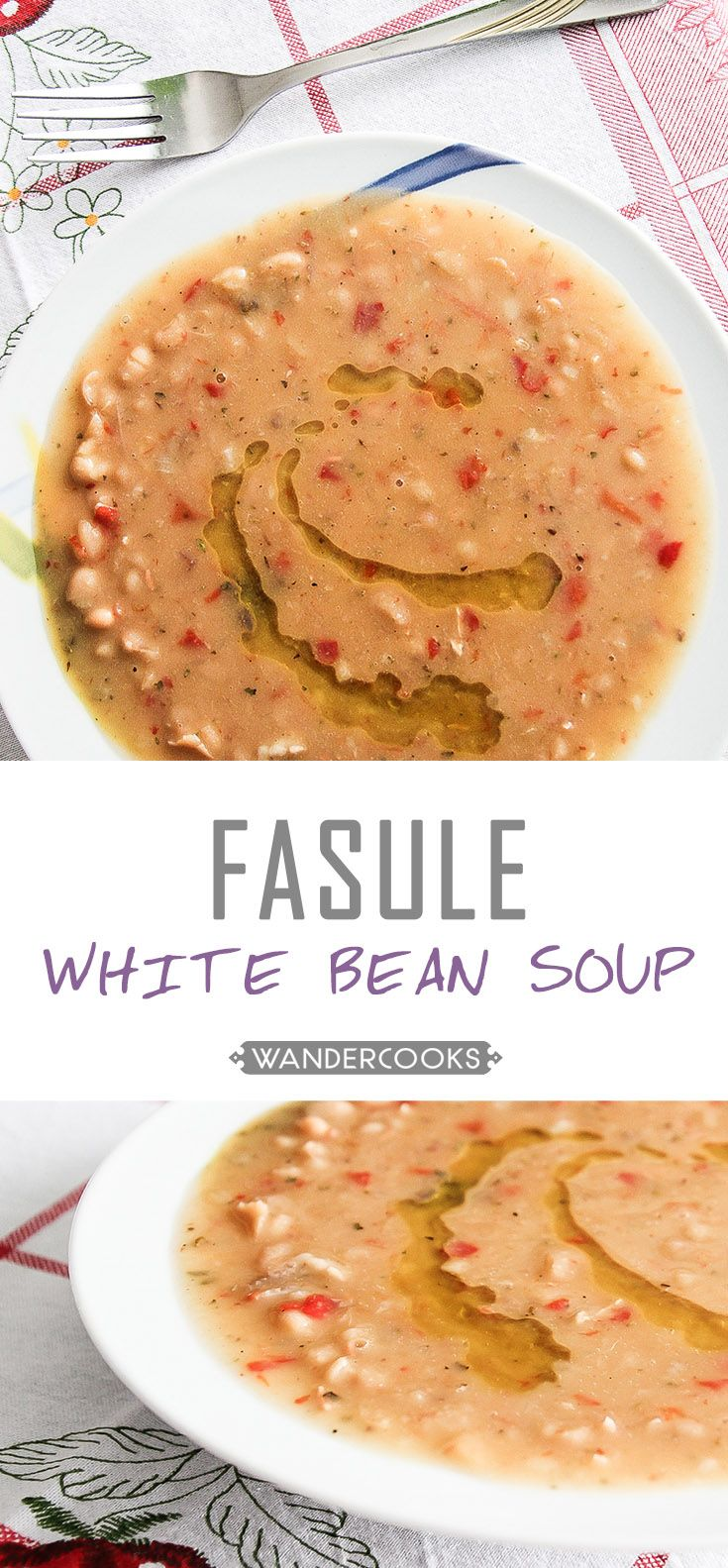 Jani Me Fasule aka White Bean Soup - a light yet filling lunch or dinner that tastes even better the next day.