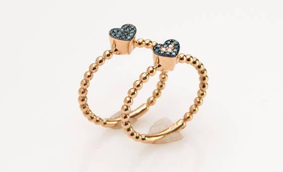 18K Heart Stacking Ring Beaded Gold Band Dainty Diamond