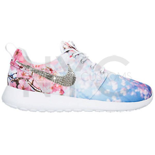 Limited Cherry Blossom Blinged Nike Roshe Run Shoes W Swarovski... ($155) ❤ liked on Polyvore featuring shoes, athletic shoes, silver, sneakers & athletic shoes, tie sneakers, women's shoes, athletic running shoes, white rhinestone shoes, white shoes and tying running shoes