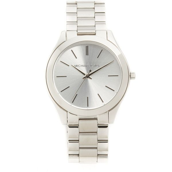 Michael Kors Slim Runway Watch (9,365 INR) ❤ liked on Polyvore featuring jewelry, watches, slim watches, michael kors jewelry, michael kors watches, snap jewelry and snap button jewelry