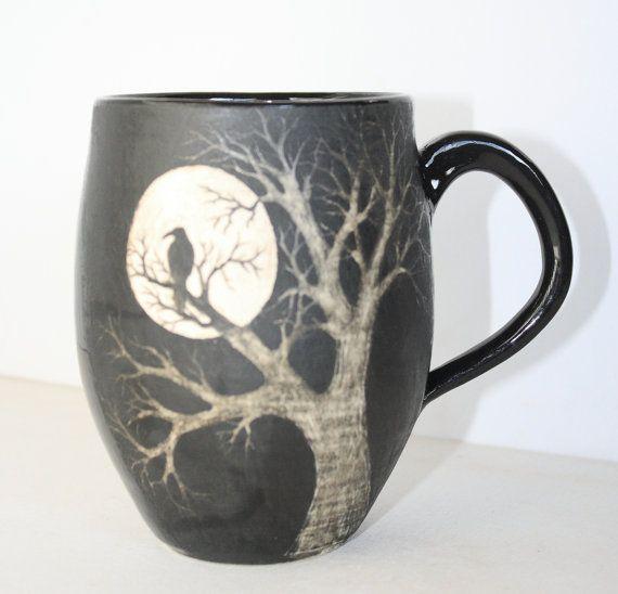 Black and White Raven Moon Tree Sgraffito Tree Mug
