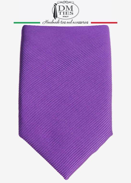 DIVINA - Cravatta slim viola scuro in seta tessuta - CRAVATTE TINTA UNITA