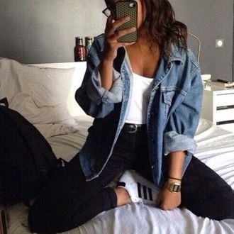 jacket denim jacket oversized jacket   Pinterest: myia24
