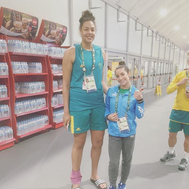Pin for Later: These Tiny Olympic Gymnasts Love Taking Pictures With Supertall Athletes Aly Raisman With Basketball Player Liz Cambage