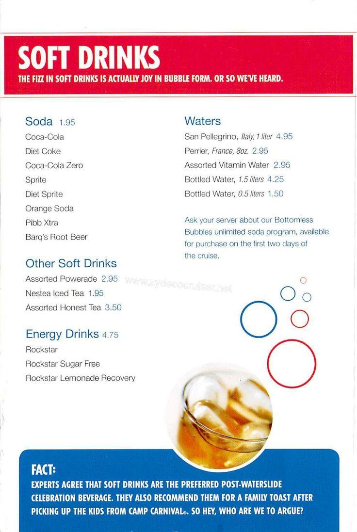Carnival Bar Menu Page 7 Vacations Pinterest
