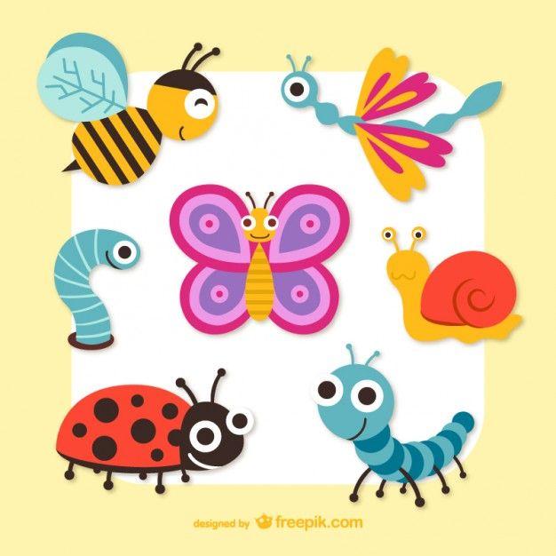 Bonito dos desenhos animados insetos gráficos vetoriais Vetor grátis