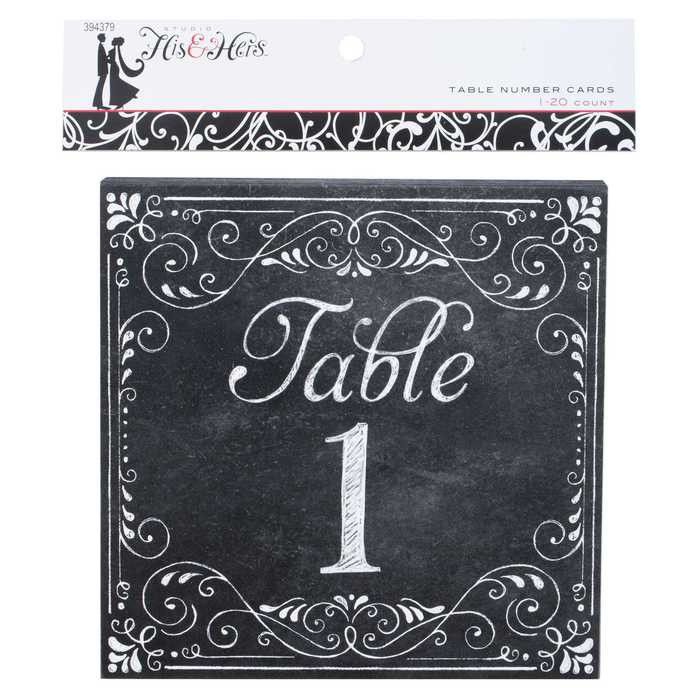 Chalkboard Table Number Cards