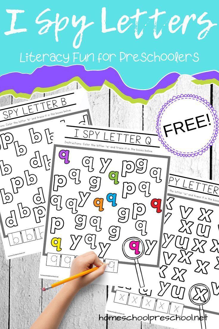 Free Printable I Spy Letters Alphabet Worksheets Alphabet Preschool Literacy Centers Kindergarten Preschool Literacy Centers [ 1102 x 735 Pixel ]