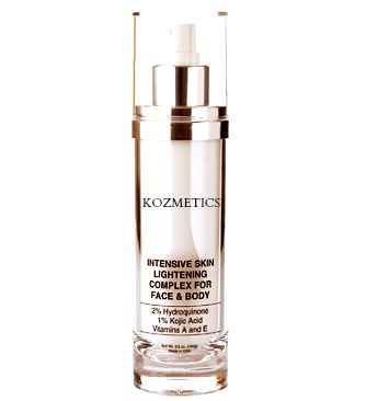 Intensive Skin Lightening Complex Used regularly, this potent blend of 2% Hydroquinone,1% Kojic Acid, Vitamins A and E, Aloe and Sunflower Seed Oil, will gradually lighten hyper-pigmentation and skin discolorations. A combination of sun avoidance and daily use of this creme will help fade age spots, freckles, melasma and other skin discolorations