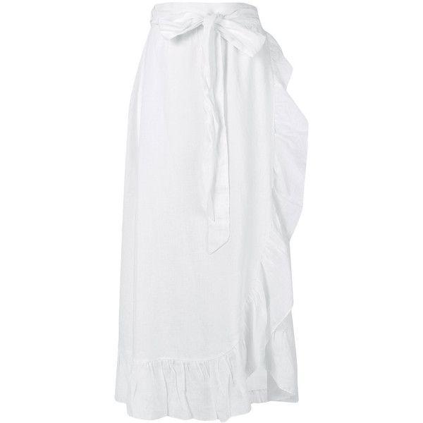 Isabel Marant Étoile ruffled maxi skirt ($445) ❤ liked on Polyvore featuring skirts, white, white wrap skirt, white high waisted skirt, white high waisted maxi skirt, long skirts and print maxi skirt
