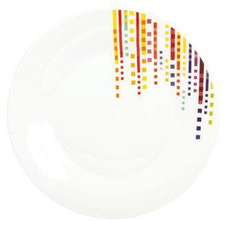 Assiette plate en porcelaine pointill�s multicolores 26cm - Lot de 6 POINTILL�