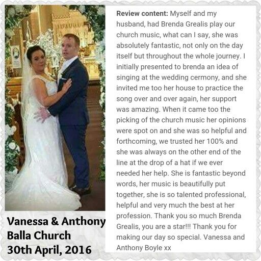 A lovely feedback from a great couple - thank you so much Vanessa and Anthony #weddingmusic #weddingsinger #mayo #sligo #galway
