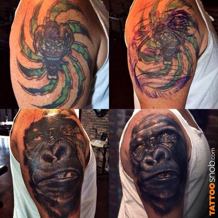 23 best images about gorilla tattoos on pinterest for Cool cover up tattoos