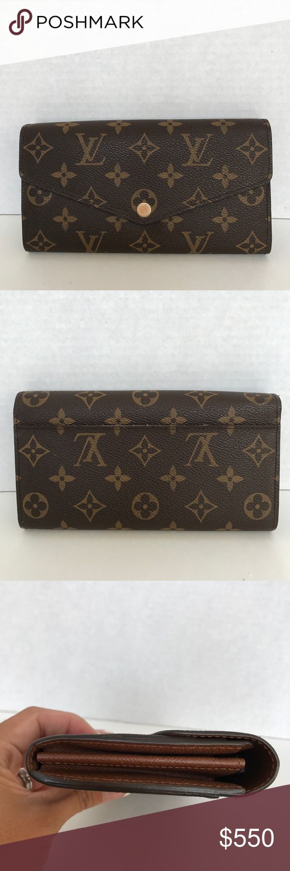Authentic Louis Vuitton Sarah PF Mono Authentic Louis vuitton Sarah PF monogram in excellent condition. No cracked, no tear, no rip. Slight scratches on the hardware. It doesn't come with dustbag, box nor receipt.  Code: TN4114  7.5 x 3.9 inches  (Length x Height)   - 16 credit card slots, two large compartments for banknotes, zippered coin pocket, two flat interior pockets, one exterior back pocket - Calf leather lining - Golden color metallic pieces Louis Vuitton Bags Wallets