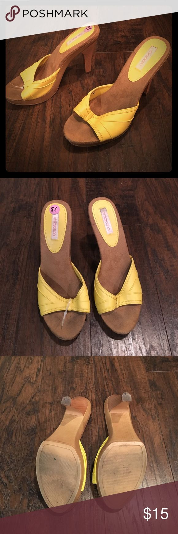 Yellow slipper heels Yellow slipper heels by Xhiliration. Size 8.5. Never worn! Xhilaration Shoes Slippers