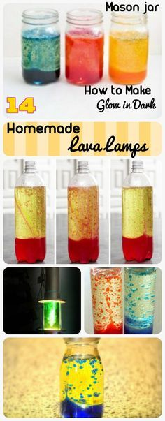 14 DIY Homemade Lava Lamp Ideas. How to make cool and easy lava lamps in mason jars and bottles which can glow in dark. Lava lamp craft for kids too..