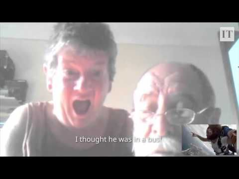 Parents freak out when their son Skypes them during a skydive
