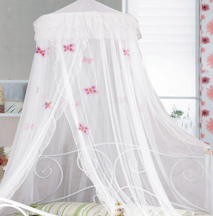 'Butterfly Bed net' white bed net with frill and embroidered butterflies  #girlsbedroom #littleprincess #butterflies