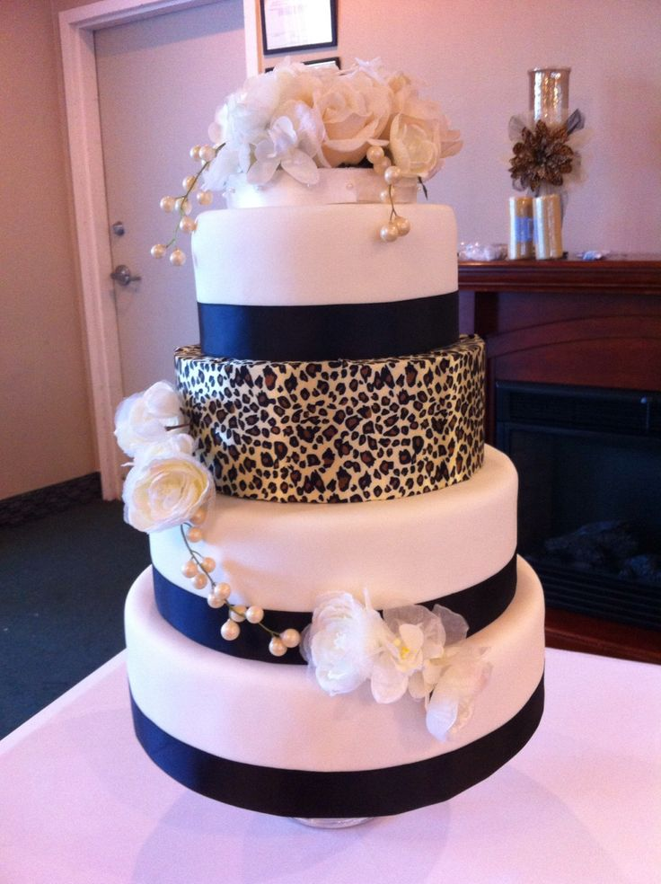 Leopard Wedding Cake!  Made for my cousins wedding September 2014.