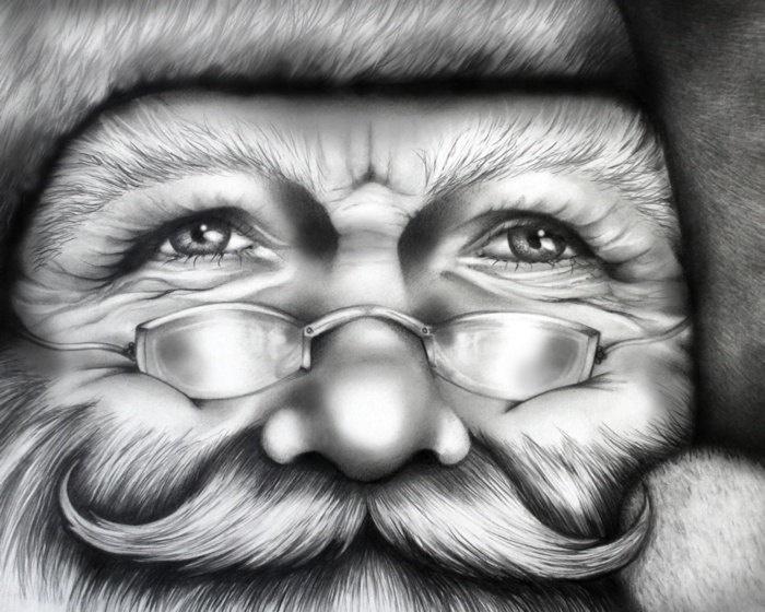 "Limited Edition ""Santa"" Print 2012, ArtByShay (Mat not included). , via Etsy."