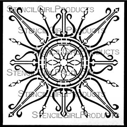 Decorative Curvy Ornament Stencil by Gwen Lafleur