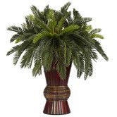 Found it at Wayfair - Cycas with Bamboo Vase Silk Plant