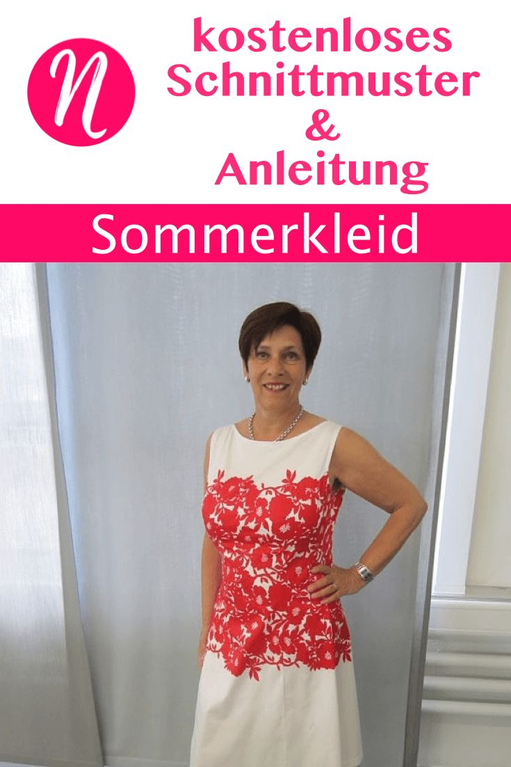 Sommerkleid in A-Linie zum selber nähen. Gratis PDF-Schnittmuster zum Drucken in Gr. 34 - 48, mit Nähanleitung ✂ Jetzt Nähtalente.de besuchen ✂  Free sewing pattern for a summer day dress in sizes 34 - 48.