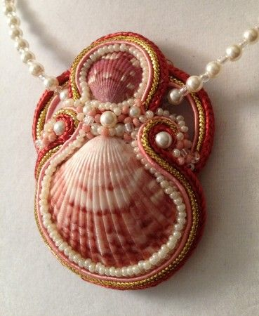 Soutache and Swarovski Crystals - great idea for use of shells found on the beach in Boca Grande!