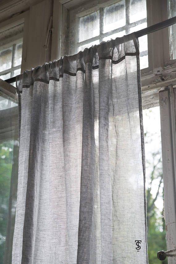 Translucidus White Gray Striped Modern Cotton Linen ...