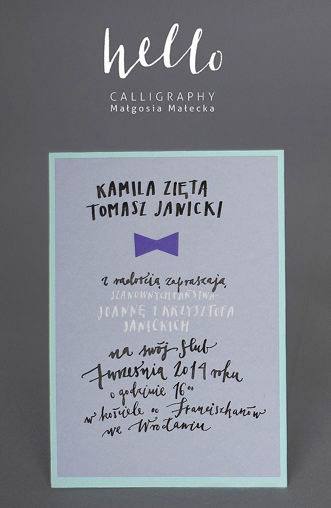 bow tie invitation by HELLO calligraphy .Małgosia Małecka.