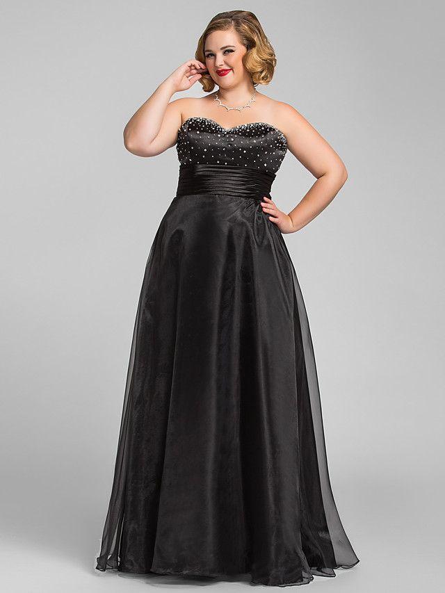 más el vestido del prom del tamaño de una línea princesa cariño organza de noche / - MXN $2,705.43