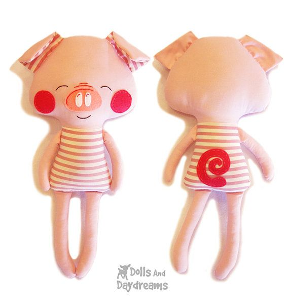 Pig Sewing Pattern PDF Softie Stuffed Toy by DollsAndDaydreams