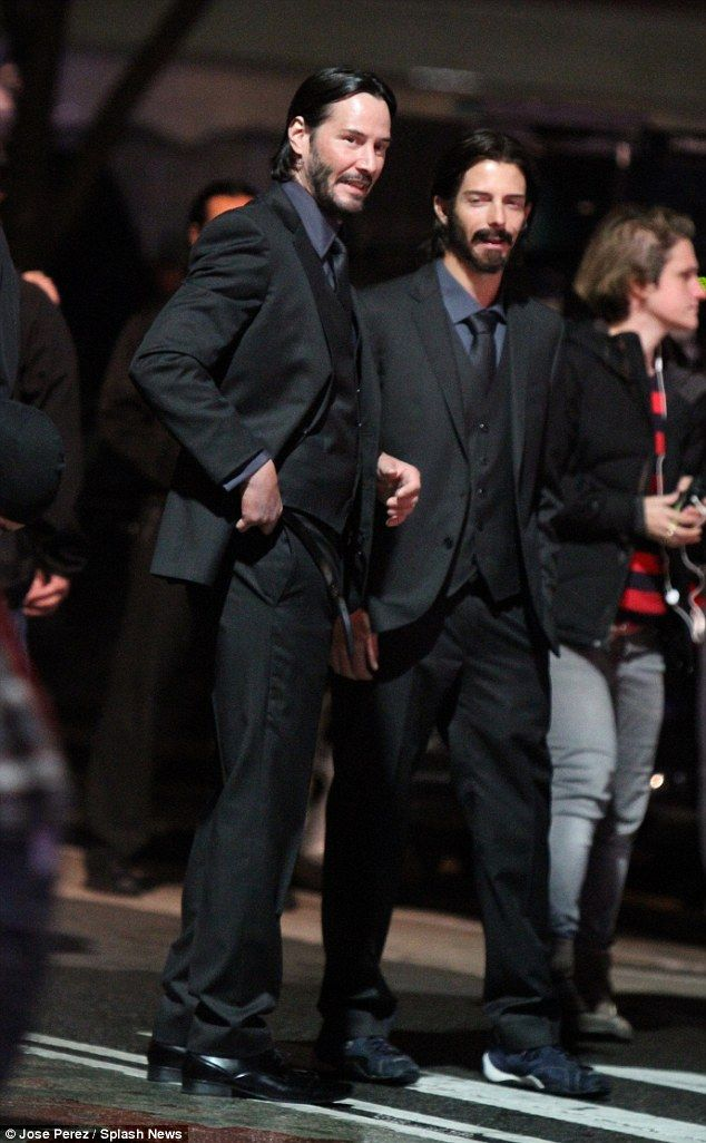 Peas in a pod: Also spotted on set was Reeves slightly shorter but heavier bearded stunt d...