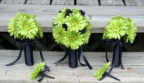 Lime Green Daisy Bouquet, Bridal Bouquet, Wedding Bouquet, Lime Bouquet, Green Bouquet, Green Bridal, Lime Green Bridesmaid Lime Wedding