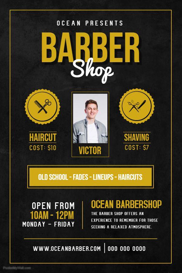 Men S Hair Salon Advertisement Poster Template Barber Shop Mens Hair Salon Barber