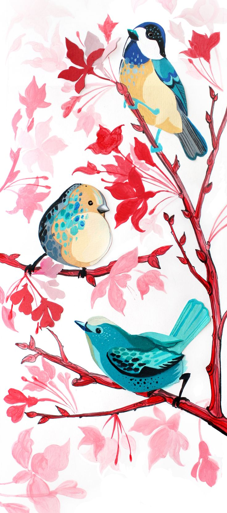 3 little birds im getting sumthing like this but the birds will b on a cherry blossom branch and my cuzin Fabi name will be carved in the branch and underneath its going say underneath every little thing is going to b alright...i miss my cuz