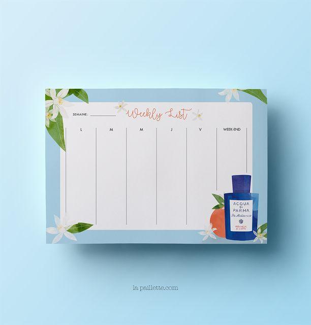 blog rennes illustratrice illustration beauté packagings produits parfum féminin claire la paillette acqua di parma weekly planner list blue