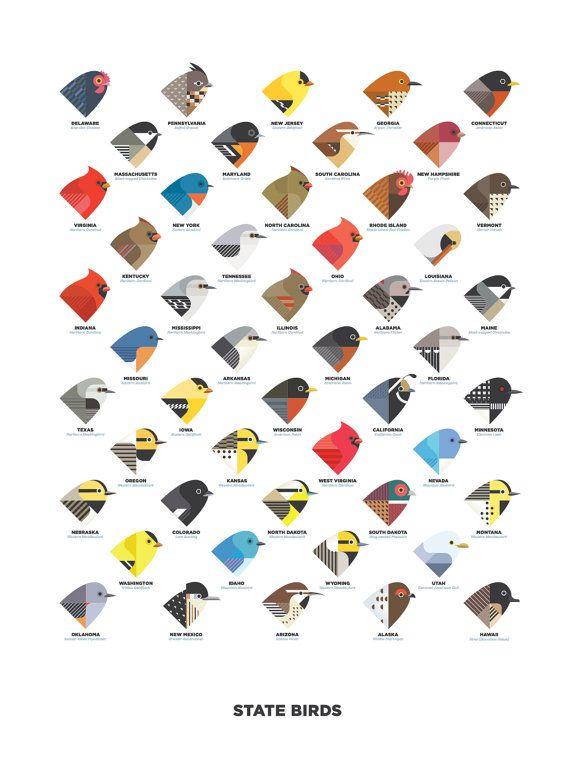 State Birds digital illustration / art print by ChoppingMall, $25.00