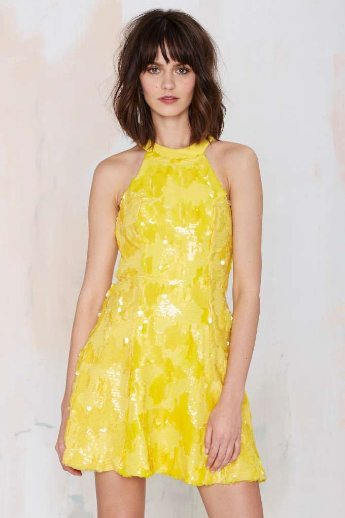 Dress the Population Anni Sequin Dress - Yellow - Going Out | Dresses | All