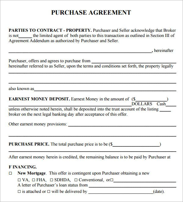 Simple Home Purchase Agreement Purchase Agreement Contract