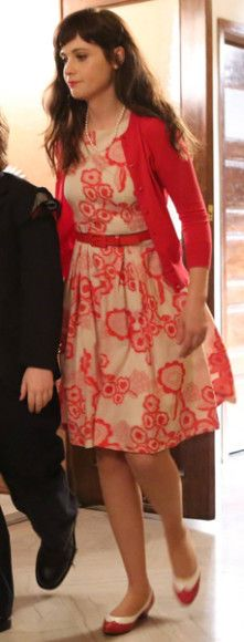 Zooey Deschanel's Red floral dress on New Girl.  Outfit Details: http://wwzdw.com/z/4510/ #WWZDW