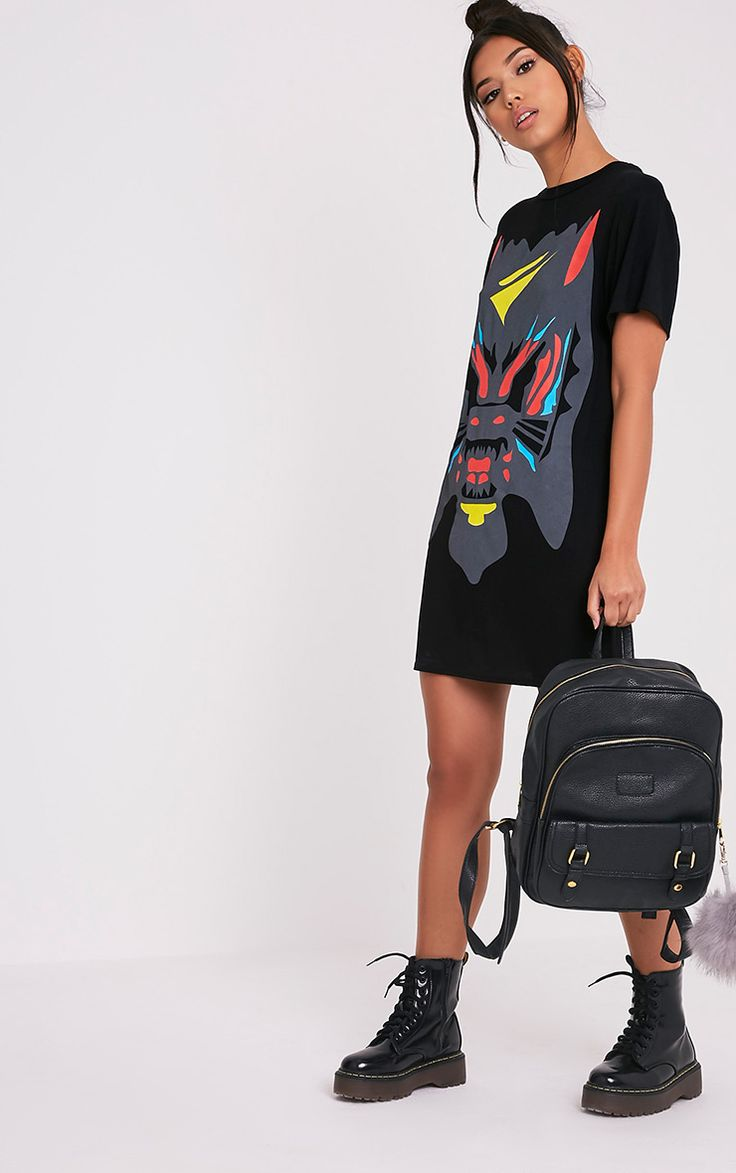 Cammia Black Abstract Animal Print T-Shirt Dress - Dresses - PrettylittleThing | PrettyLittleThing.com