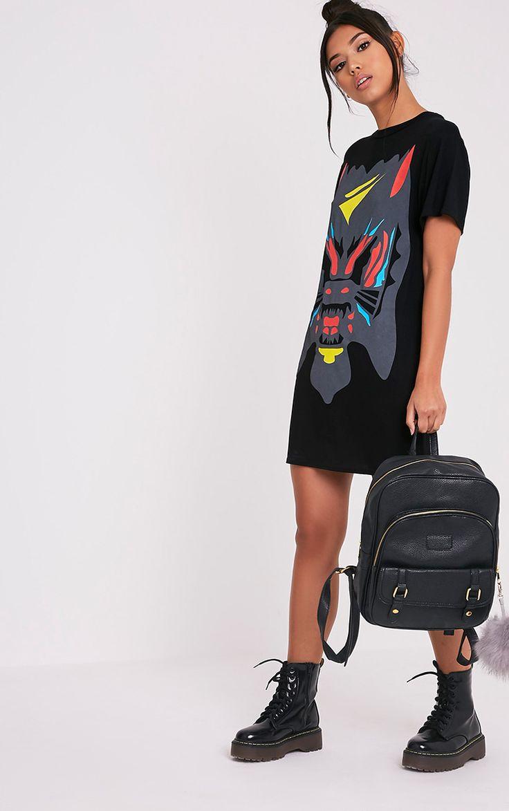 Cammia Black Abstract Animal Print T-Shirt Dress - Dresses - PrettylittleThing   PrettyLittleThing.com