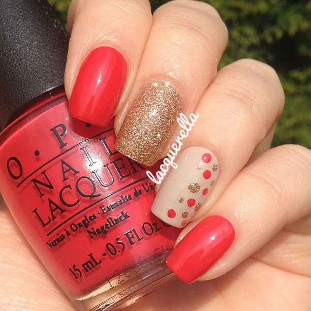 A+little+mix+and+match...+#OPI+-+Cajun+Shrimp,+#ChinaGlaze+-+I+Herd+That+and+#Essie+-+Sand+Tropez.+#nailsbylacquerella