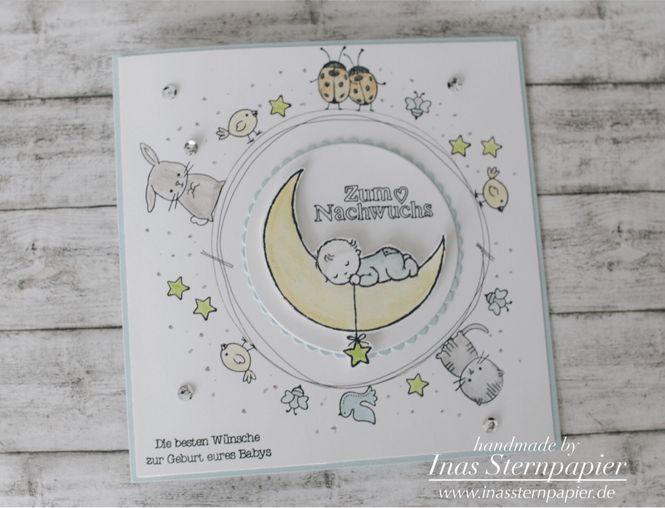Stampin Up Moon Baby Zum Nachwuchs Himmelsstürmer Segenswünsche Karte Baby Blog Hop